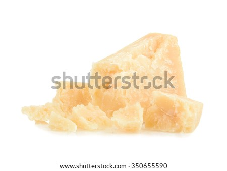 parmesan cheese isolated on white background - stock photo