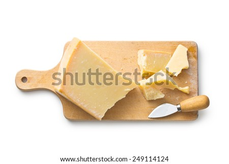 parmesan cheese on white background - stock photo