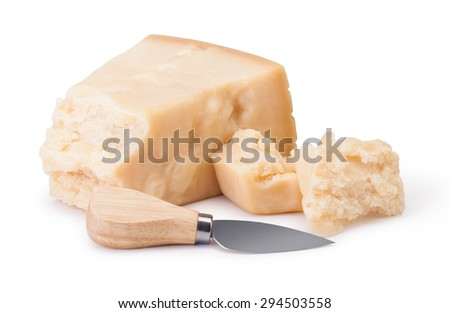 parmesan cheese on white background - stock photo
