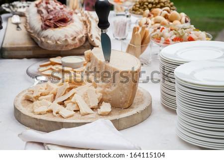Parmesan, parmigiano Italy, buffet - stock photo