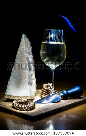 Parmigiano and wine - stock photo