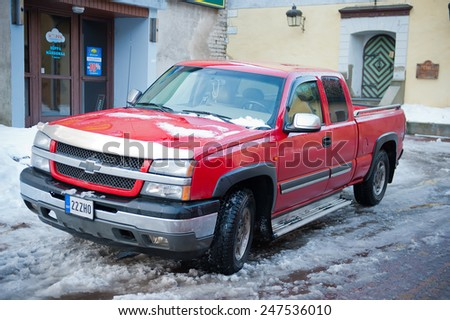 PARNU - DEC 31: Chevrolet Silverado on Dec. 31, 2014 in Parnu, Estonia. The Chevrolet Silverado and the GMC Sierra is a series of full-size and heavy-duty pickup trucks manufactured by General Motors.