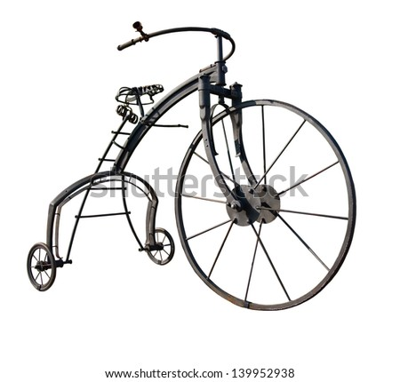 Parody of an old tricycle isolated on white - stock photo