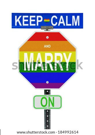 """Parody of 1939 UK government slogan """"Keep Calm and Carry On"""" changing C to a M, in re. to the 2014 legalization of same sex marriages in much of the U.K. Written on road signs with gay pride colours. - stock photo"""