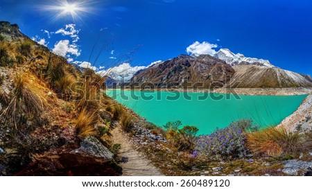 Paron lake in Peruvian Andes - stock photo