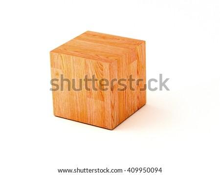 parquet cube  - 3D illustration - stock photo