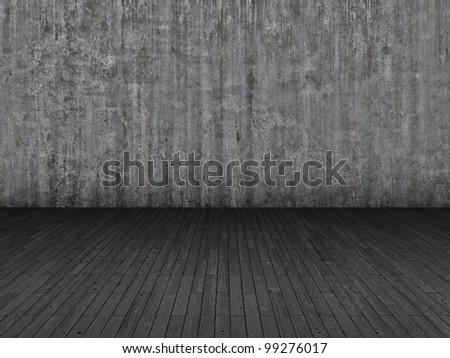 Parquet floor and grunge concrete wall background
