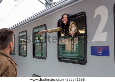 parr on arrival or verabschiedeung on a platform at a station