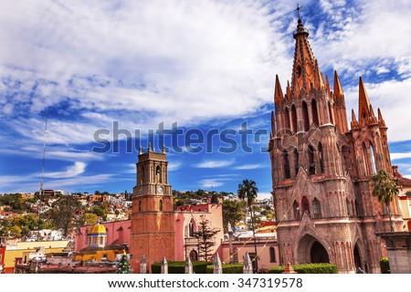 Parroquia Archangel church Town Square Rafael Church San Miguel de Allende, Mexico. Parroaguia created in 1600s. - stock photo