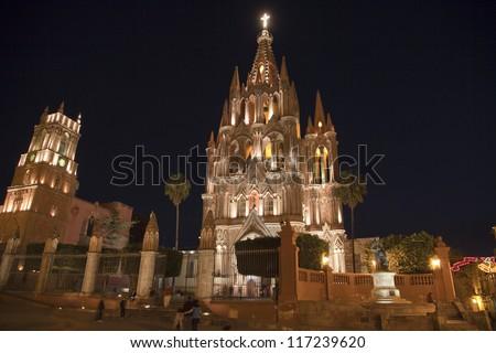 Parroquia church in san miguel de allende, mexico - stock photo