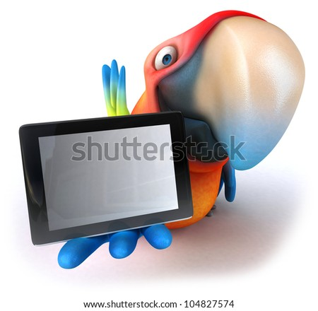 Parrot and tablet - stock photo