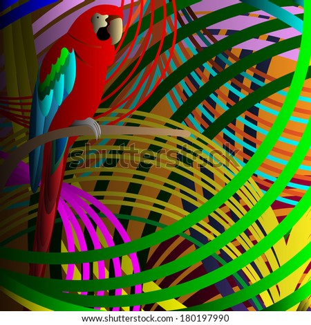 Parrot in jungle. Raster version - stock photo