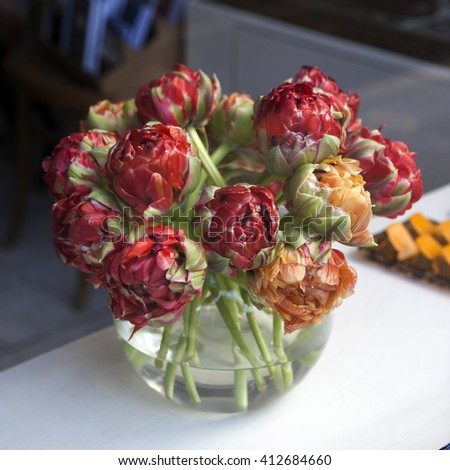 Parrot Tulips in a glass vase, romantic bouquet,spring flowers,a bouquet of flowers,festive bouquet - stock photo