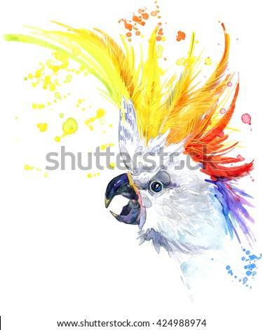 Parrot. Watercolor Parrot illustration. Tropical bird watercolor. Funny parrots T-shirt graphics - stock photo