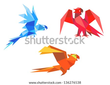Parrots in origami paper style isolated on white background. Vector version also available in gallery - stock photo