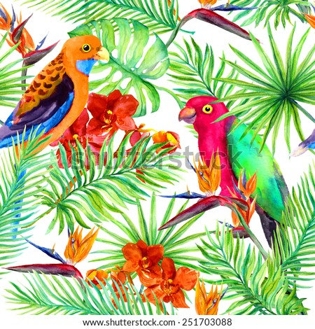 Parrots, tropical leaves and exotic flowers (bird flower, orchid). Repeating background. Watercolor  - stock photo