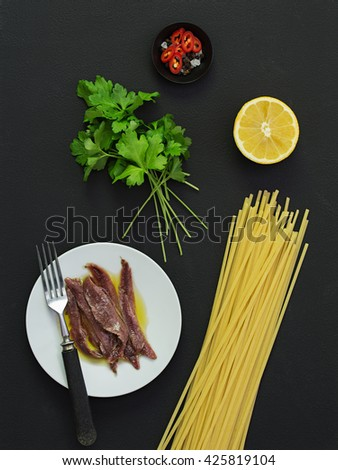 Parsley and Anchovy Pasta Ingredients. - stock photo