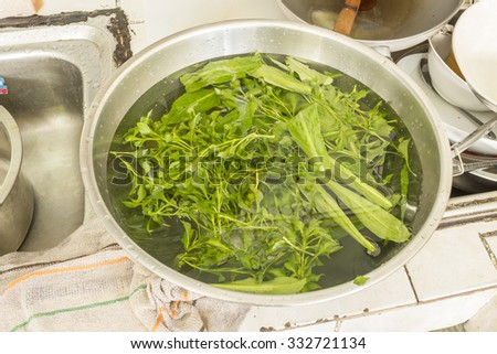 Parsley, fresh vegetable in water - submergence, clean - stock photo