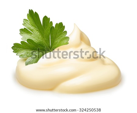 Parsley herb over cream isolated on white background. - stock photo