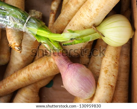 parsley roots and onions in market place as background