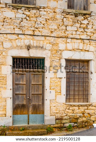 part of a beautiful old building of Kosmas village in southern Peloponnese in Greece - stock photo