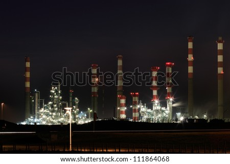 Part of a big oil refinery and power-plant by night
