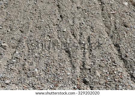 Part of a big sandy gravel heap - stock photo
