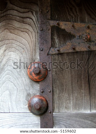 part of a door of an old  Japanese castle - stock photo