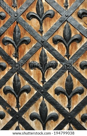 Part of a door of old castle. Wood and metal - stock photo