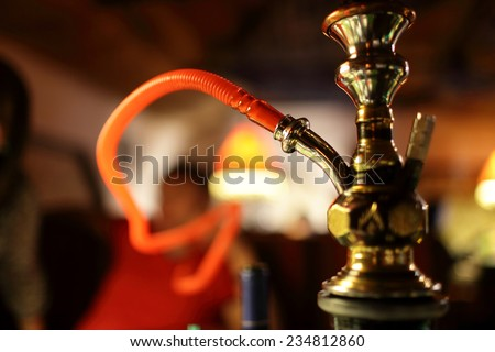 Part of a hookah in the arabic restaurant - stock photo