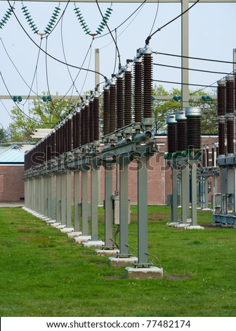 part of a 110kv electric substation - stock photo