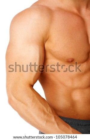 Part of a man's body on a white background - stock photo