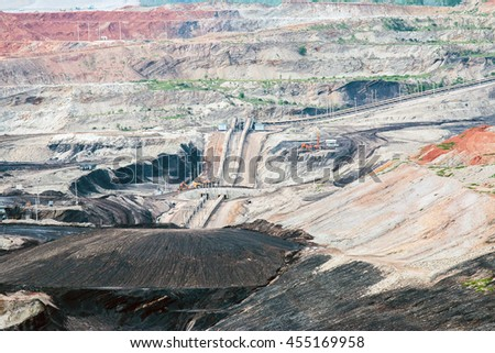 Part of a pit with big mining truck working