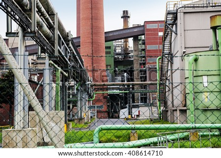 part of a power plant, fired with lignite, concept for economic growth, energy and environmental pollution - stock photo