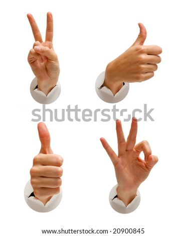 part of a series of hand images isolated over white - stock photo