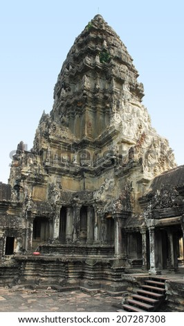 part of a temple complex named Angkor Wat in Cambodia