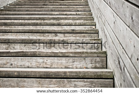 Part of a wooden staircase - stock photo