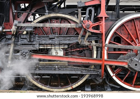 part of active steam locomotive #2 - stock photo