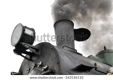 part of active steam locomotive isolated on white - stock photo