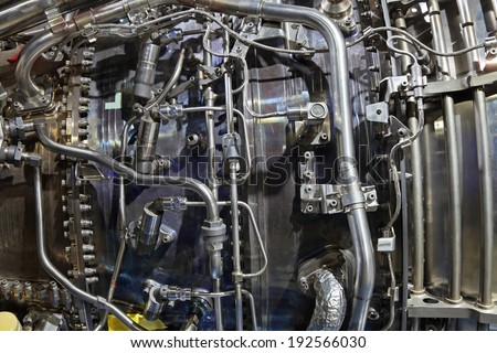 Part of aircraft turbo-jet engine, background - stock photo