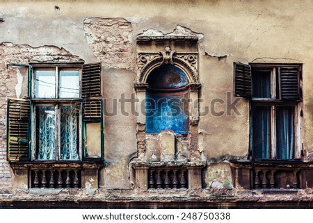 part of an old house in Belgrade, Serbia, street Kosancicev Venac - stock photo