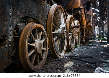 Part of an old industrial train - stock photo