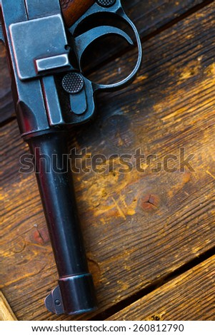 part of an old Luger pistol. Parabellum close up - stock photo