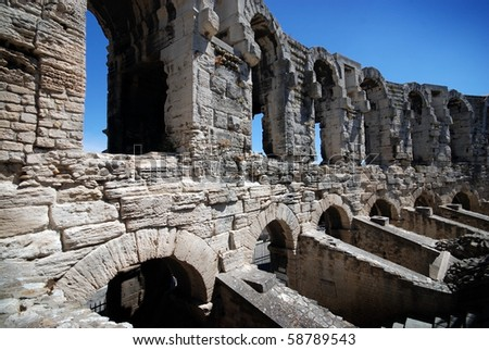Part of ancient Roman stadium in Arles, Provence, France - stock photo