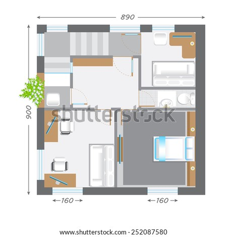 part of architectural project Ground Floor Plan Floorplan House Home Building Architecture Blueprint Layout Detailed architectural plan. raster illustration - stock photo