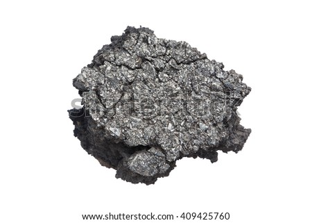 Part of asphalt cracks on the road isolate on white background. - stock photo