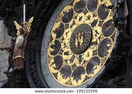 Part of astronomical clock in Prague, Czech republic - stock photo