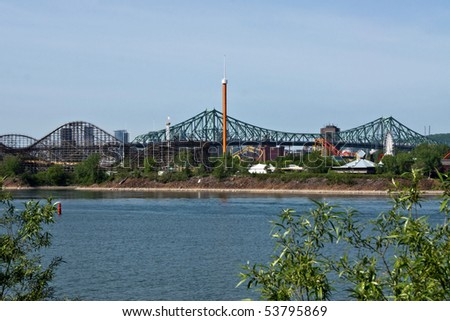 Part of Attraction Park and Bridge Background of Montreal
