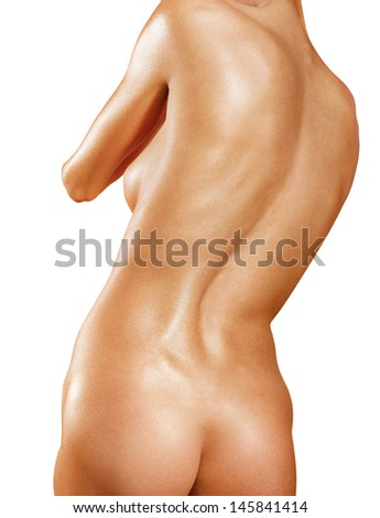 part of back with scoliosis isolated on white background  - stock photo