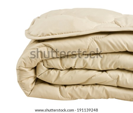 part of beige blanket isolated on white background - stock photo